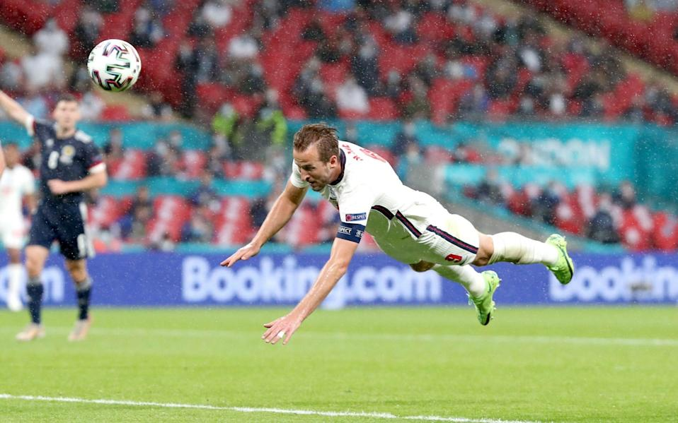 England's Harry Kane heads towards goal during the UEFA Euro 2020 Group D match at Wembley - Nick Potts/PA