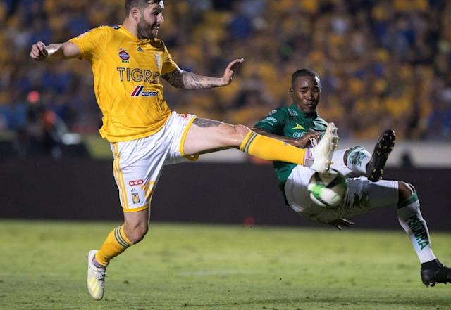 Mandatory Credit: Photo by MIGUEL SIERRA/EPA-EFE/REX/Shutterstock (10246193g) Tigres UANL's Andre Gignac put his squad ahead in their 1-0 first leg win over Club Leon