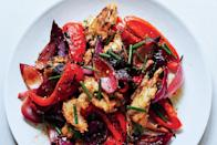 """Our grilled version of panzanella boasts sweet-and-sour flavors and gets even better as it sits. <a href=""""https://www.epicurious.com/recipes/food/views/grilled-bread-salad-with-sweet-peppers-and-onions-51239720?mbid=synd_yahoo_rss"""" rel=""""nofollow noopener"""" target=""""_blank"""" data-ylk=""""slk:See recipe."""" class=""""link rapid-noclick-resp"""">See recipe.</a>"""