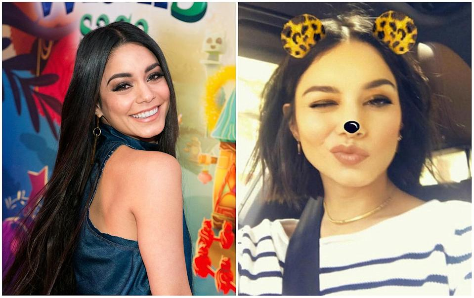 """<p><b>When: May 16, 2017</b><br>Vanessa Hudgens swapped her long, flowing dark locks in favour of a short, chic bob. The brunette beauty debuted the new look, courtesy of Nine Zero One Salon, to her Instagram account on Tuesday—and she looks effortlessly fresh and youthful!<br>""""Oh she short, thank you @nikkilee901 for the chop!"""" she captioned next to her short 'do. Are you loving the length?<br><i>(Photos: Getty/Instagram) </i> </p>"""