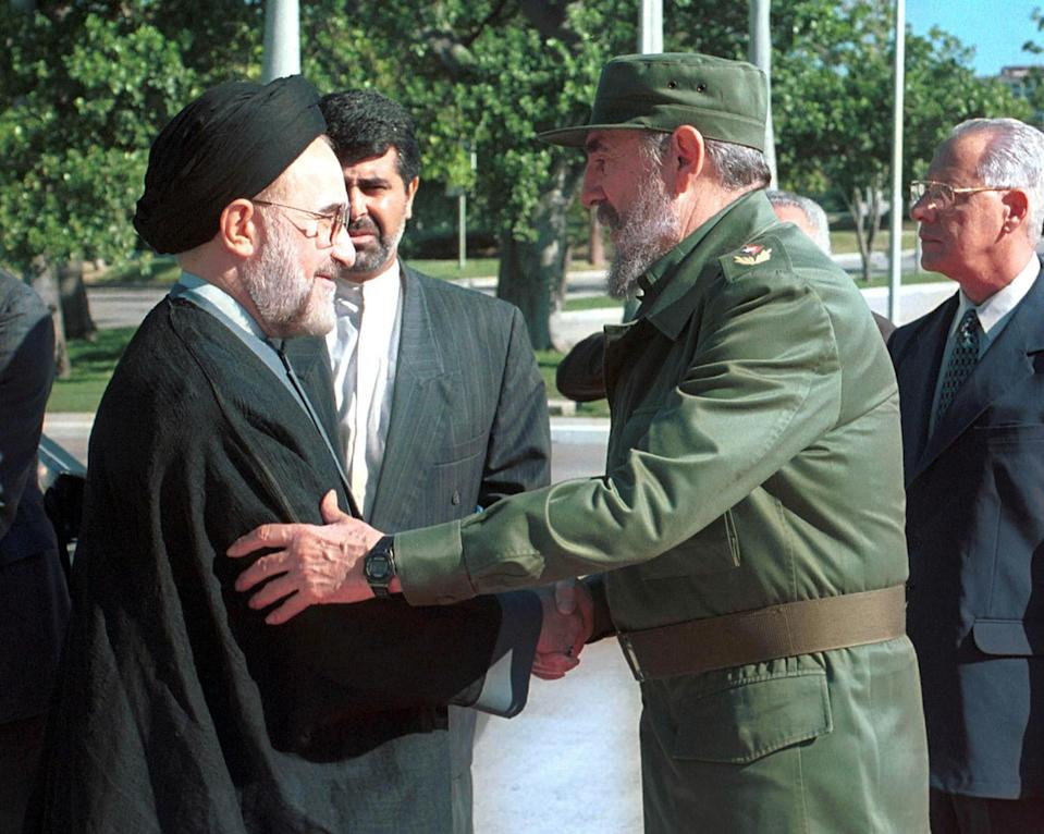 <p>The president of the Islamic Republic of Iran, Hojatoleslam Khatami Mohammad (left), meets with Cuban President, Fidel Castro, in the Palace of The Revolution, in Cuba. September 30, 2000. (Jorge Rey/MediaPunch/IPX/AP) </p>