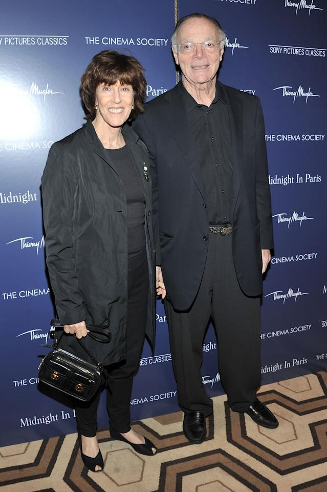"""NEW YORK, NY - MAY 17:  Nora Ephron and Nicholas Pileggi attend The Cinema Society & Thierry Mugler screening of """"Midnight in Paris"""" at Tribeca Grand Screening Room on May 17, 2011 in New York City.  (Photo by Stephen Lovekin/Getty Images)"""