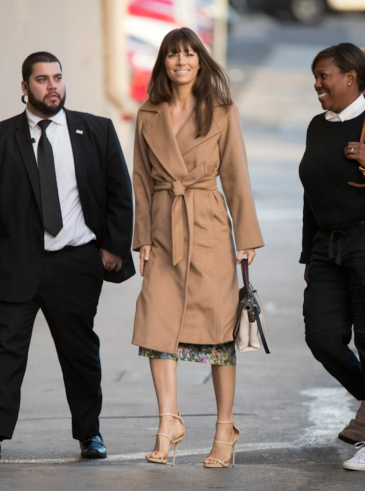<p>Biel wears the Max Mara Manuela coat in 2017. (Photo: Courtesy of Max Mara) </p>