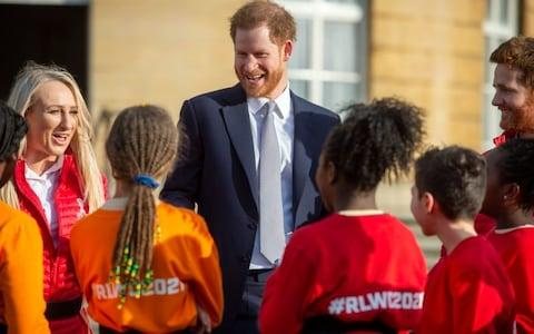 The Duke of Sussex was in 'surprisingly good spirits' at the rugby event - Credit: GEOFF PUGH for The Telegraph