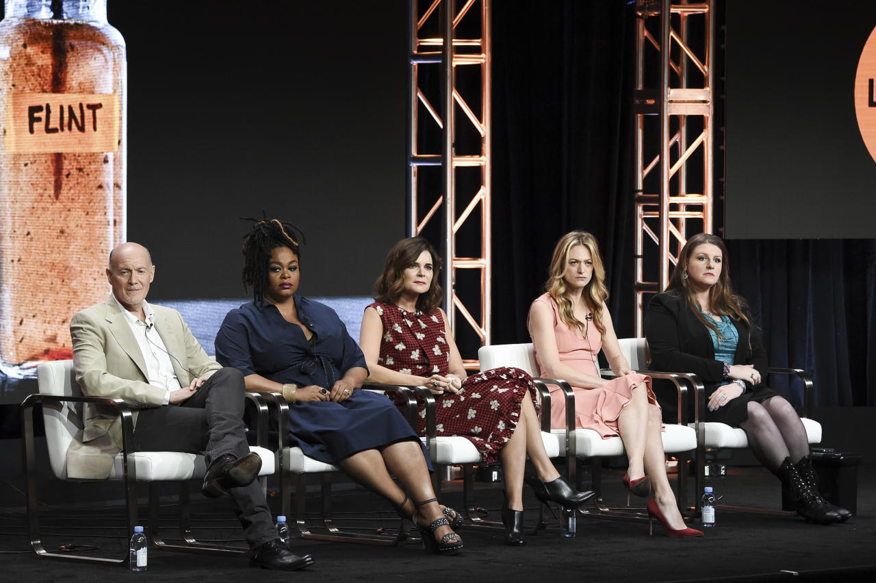 "Neil Meron, from left, Jill Scott, Betsy Brandt, Marin Ireland and Melissa Mays attend the ""Flint"" panel during the A&E portion of the 2017 Summer TCA's at the Beverly Hilton Hotel on Friday, July 28, 2017, in Beverly Hills, Calif. (Photo by Richard Shotwell/Invision/AP)"