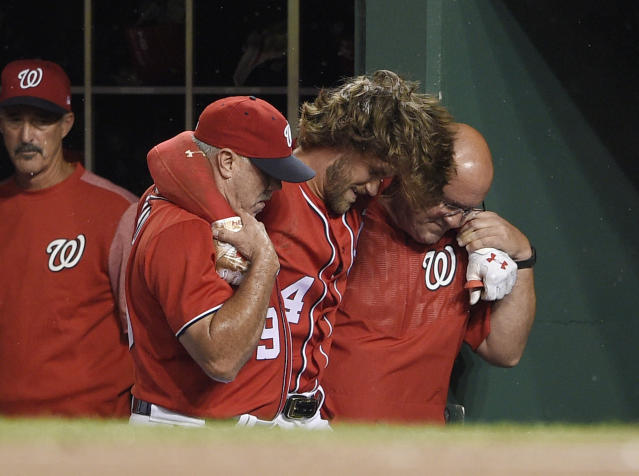 Another season, another Bryce Harper injury. (AP Photo/Nick Wass)