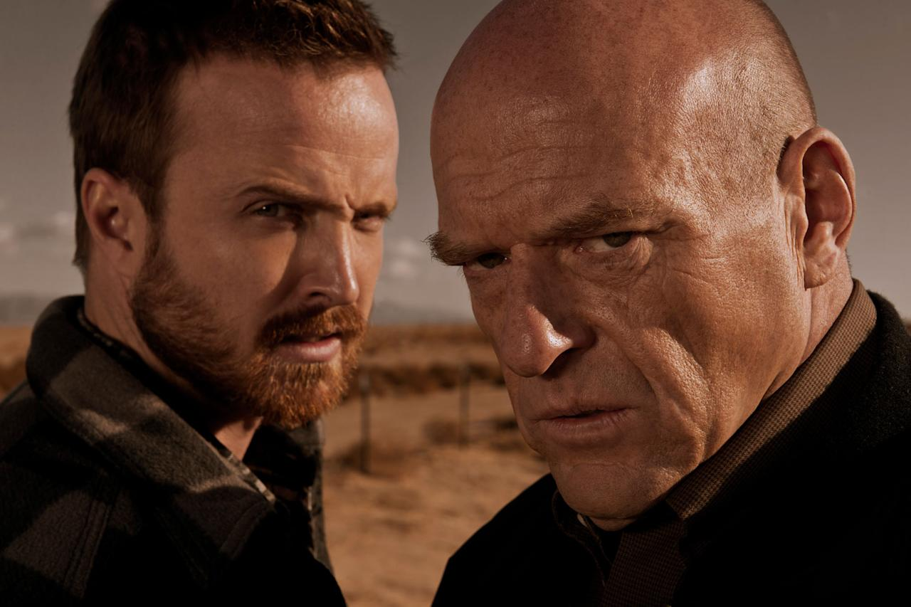"Jesse Pinkman (Aaron Paul) and Hank Schrader (Dean Norris) in ""Breaking Bad"" Season 5."