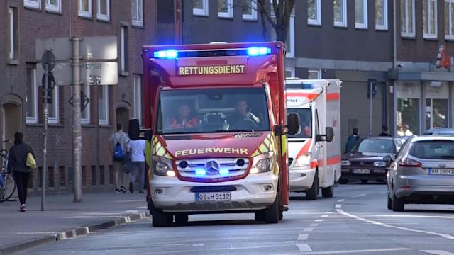 <p>An ambulance arrive near a place where a vehicle drove into a group of people killing several and injured many in Muenster, Germany, April 7, 2018. (PhotoL NonstopNews/Reuters) </p>