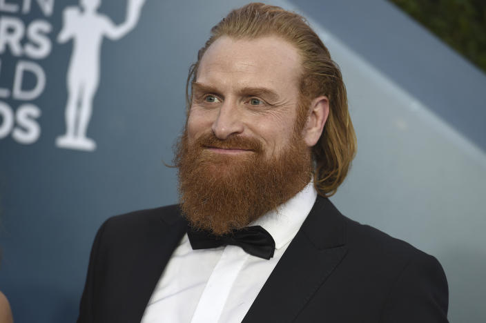 Kristofer Hivju arrives at the 26th annual Screen Actors Guild Awards at the Shrine Auditorium & Expo Hall on Sunday, Jan. 19, 2020, in Los Angeles. (Photo by Jordan Strauss/Invision/AP)