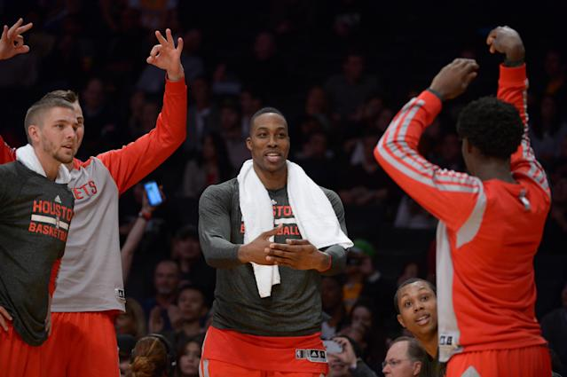 Finally the center of attention in L.A., Dwight Howard delivers ... for the Rockets