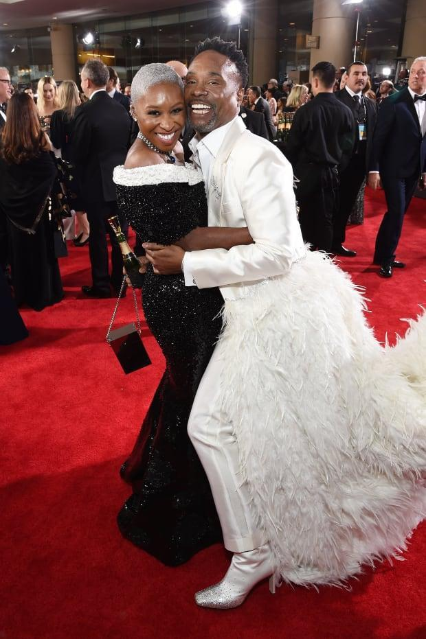 Cynthia Erivo in Thom Browne and Billy Porter in Alex Vinash.