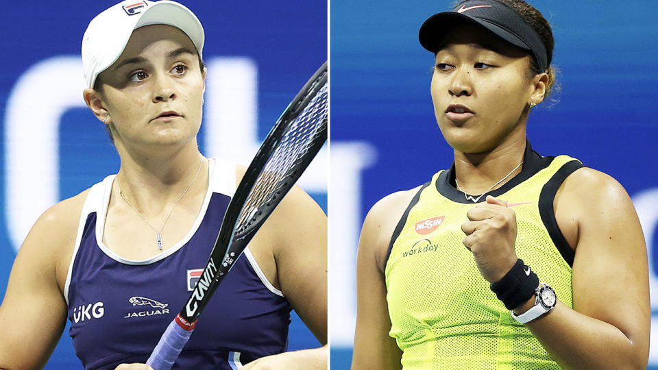 Ash Barty and Naomi Osaka, pictured here in action at the US Open.