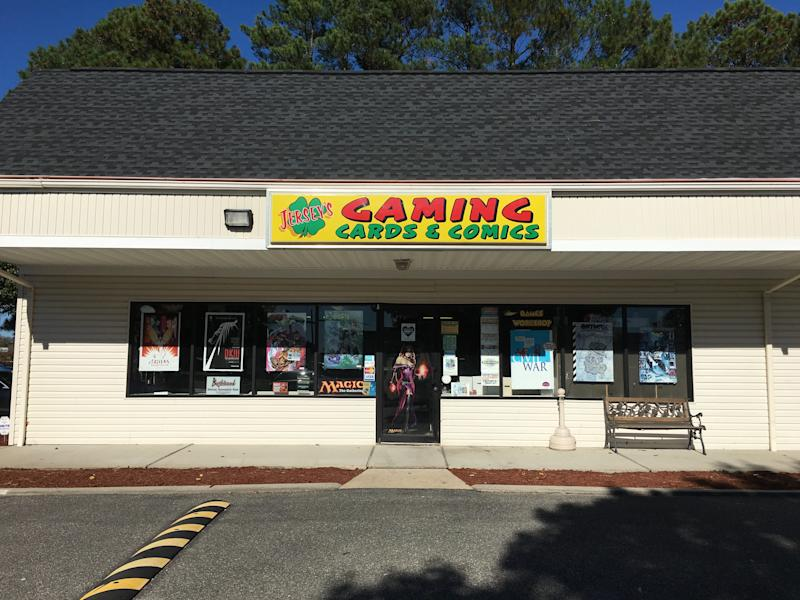 Outside of Jersey's Cards and Comics in Hampton, Virginia. Owner Bryan Salerno and his father started the business in 1992.