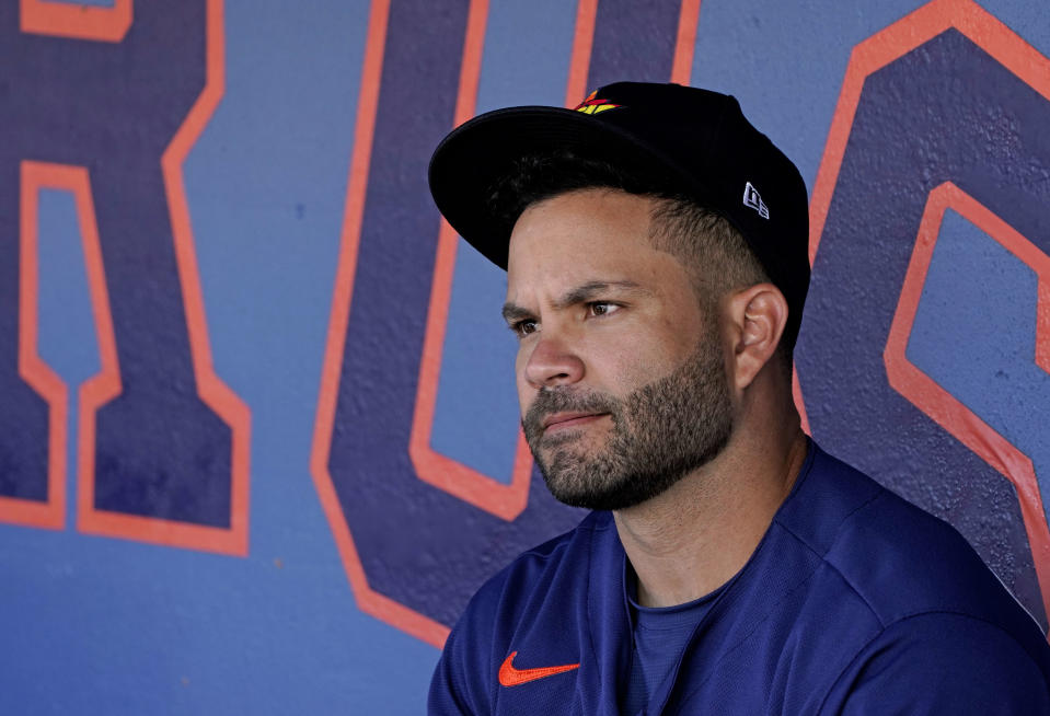Mar 1, 2020; West Palm Beach, Florida, USA; Houston Astros second baseman Jose Altuve (27) sits in the dugout before a game against the St. Louis Cardinals at FITTEAM Ballpark of the Palm Beaches. Mandatory Credit: Steve Mitchell-USA TODAY Sports