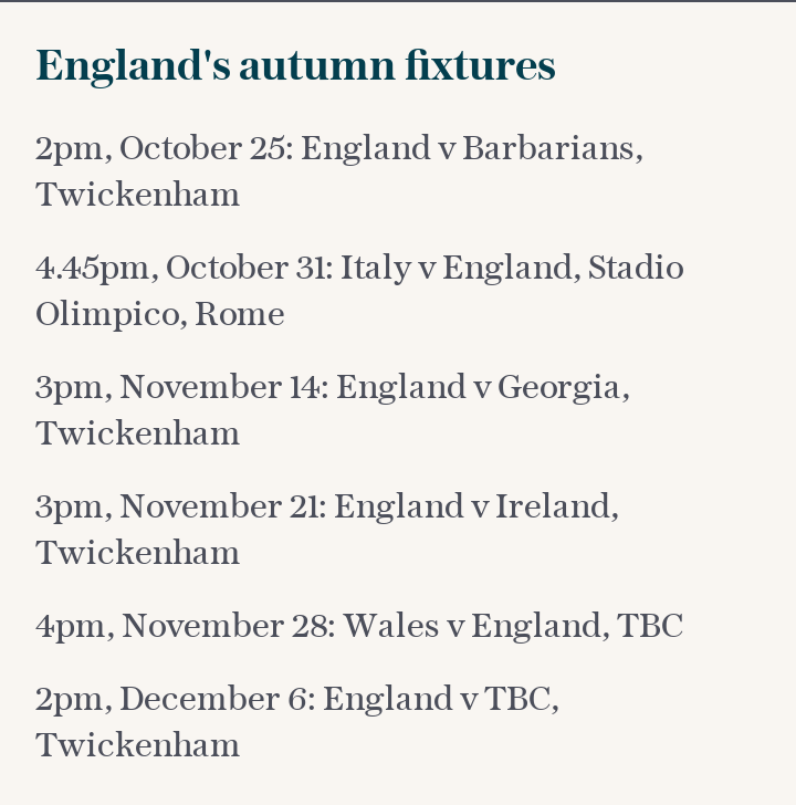 England's autumn fixtures