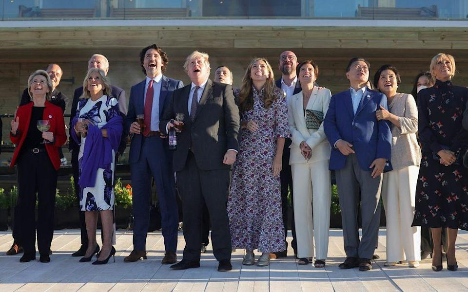 Prime Minister Boris Johnson and other G7 leaders watch the Red Arrows flying display in Carbis Bay, Cornwall on June 12 2021 - Andrew Parsons/No 10 Downing Street