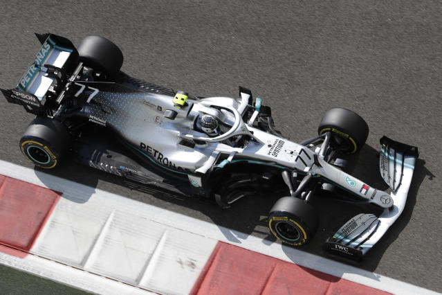 Mercedes driver Valtteri Bottas of Finland steers his car during the first free practice at the Yas Marina racetrack in Abu Dhabi, United Arab Emirates, Friday, Nov. 29, 2019. The Emirates Formula One Grand Prix will take place on Sunday. (AP Photo/Luca Bruno)