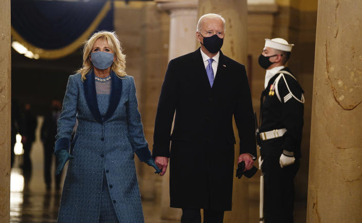 President-elect Joe Biden and Dr. Jill Biden arrive in the Crypt of the US Capitol for President-elect Joe Biden's inauguration ceremony on Wednesday, Jan. 20, 2021 in Washington. (Jim Lo Scalzo (Jim Lo Scalzo/Pool Photo via AP)
