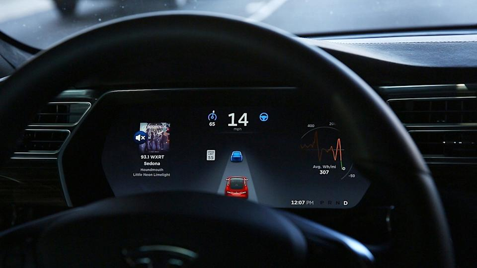 The dashboard of the software-updated Tesla Model S P90D shows the icons enabling Tesla's autopilot, featuring limited hands-free steering, making the Tesla the closest thing on the market to an autonomous-driving enable vehicle. (Chris Walker/Chicago Tribune/Tribune News Service via Getty Images)