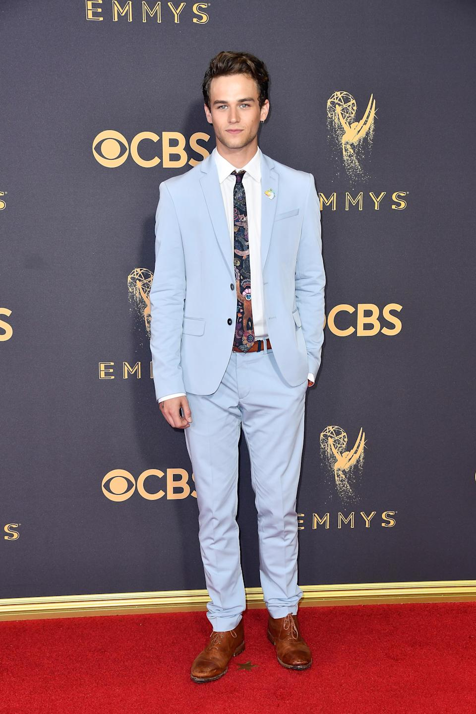 <p>Brandon Flynn attends the 69th Primetime Emmy Awards at the Microsoft Theater on Sept. 17, 2017, in Los Angeles. (Photo: Getty Images) </p>