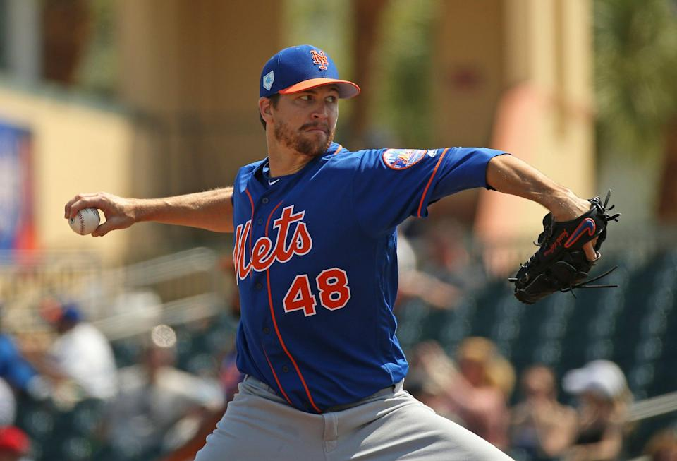 New York Mets pitcher Jacob deGrom (48) pitches during the fourth inning of a spring training baseball game against the Miami Marlins, Tuesday, March 12, 2019 in Jupiter, Fla. (David Santiago/Miami Herald via AP)