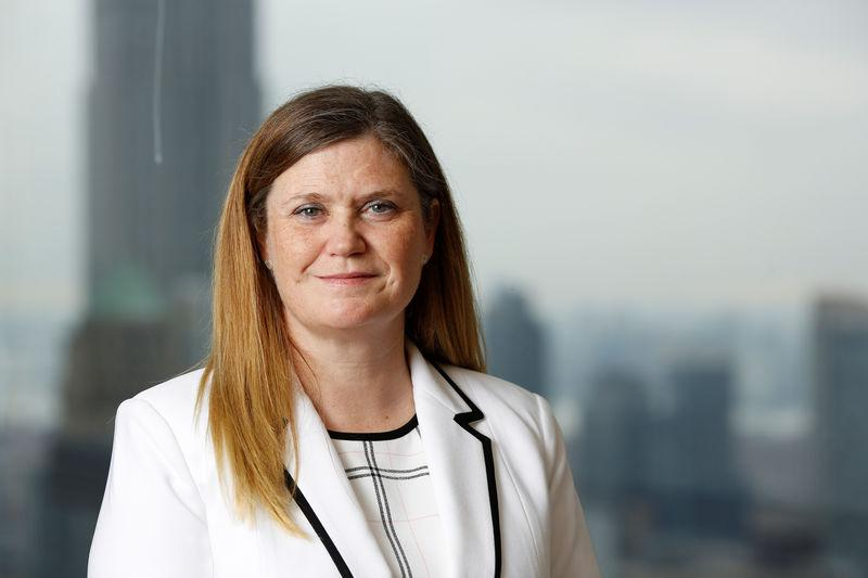 FILE PHOTO: Chief Financial Officer Marianne Lake stands for a portrait at the headquarters of JP Morgan Chase & Co