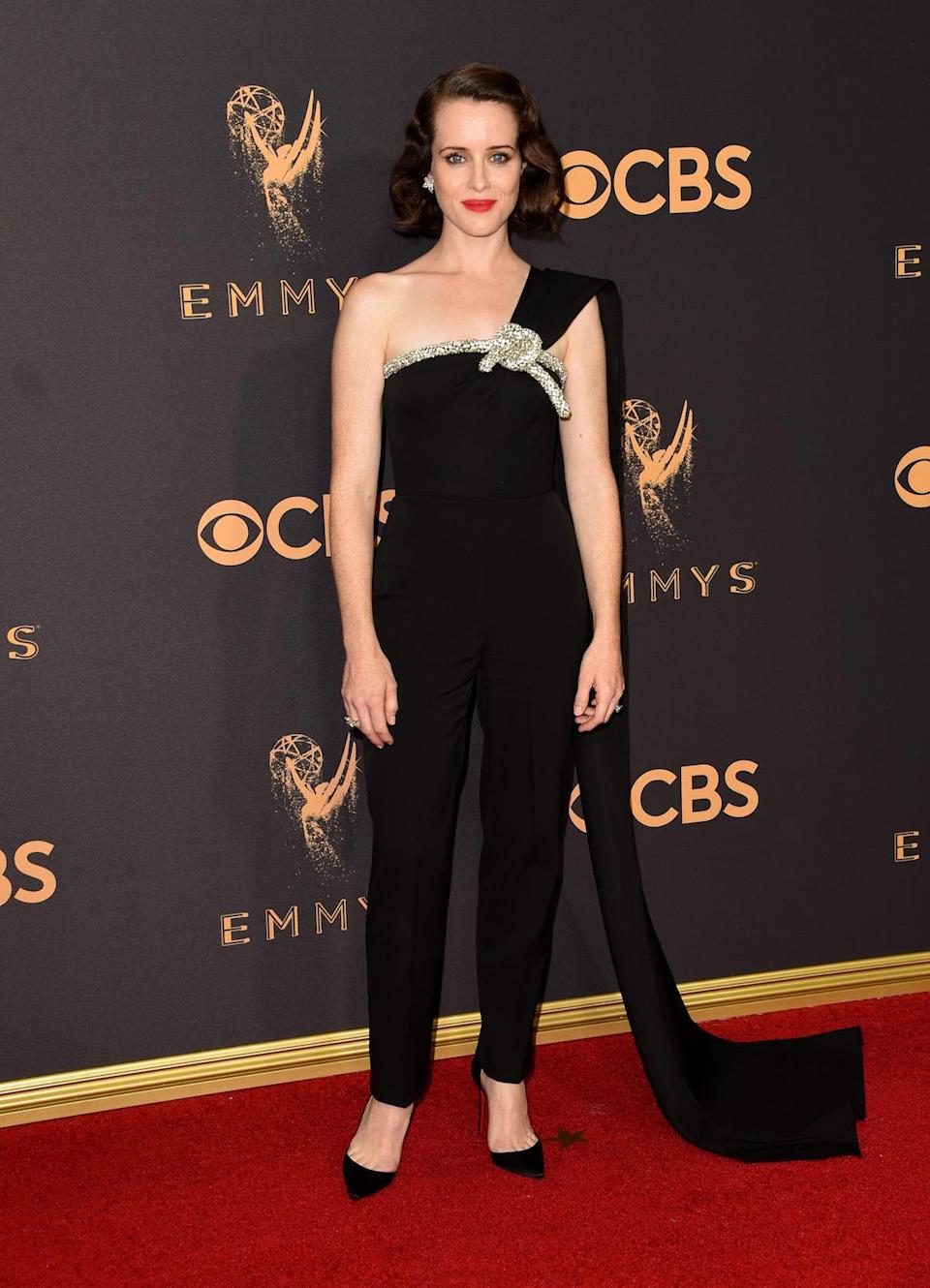 <p>Claire Foy attends the 69th Primetime Emmy Awards on Sept. 17, 2017.<br> (Photo: Getty Images) </p>