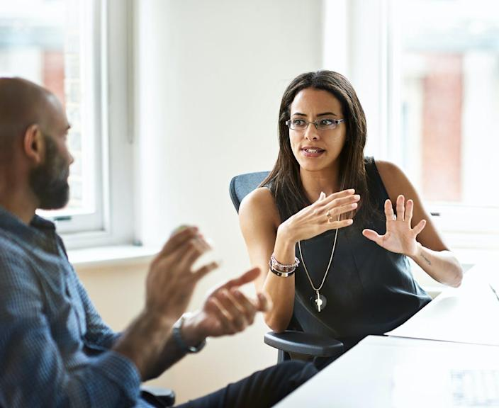 """<span class=""""caption"""">Women who perceive their male colleagues as allies are more likely to feel included in a workplace. </span> <span class=""""attribution""""><a class=""""link rapid-noclick-resp"""" href=""""https://www.gettyimages.com/detail/photo/people-in-office-royalty-free-image/641199918"""" rel=""""nofollow noopener"""" target=""""_blank"""" data-ylk=""""slk:10'000 Hours/DigitalVision via Getty Images"""">10'000 Hours/DigitalVision via Getty Images</a></span>"""