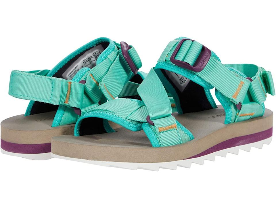 """<h2>Sport Sandals<br></h2><br>""""As everyone started to escape to the outdoors, we saw a huge resurgence in sport sandals,"""" says Kanfer of last year's rush on activity-ready footwear. (""""Think sandals with a lug-sole type bottom,"""" explains Meiklereid of the style.) Good news: rugged open-air footwear is back this season, and it's got even more of a footprint — the bigger the better, it seems. """"I've gleaned that women are really gravitating towards chunky sportier styles,"""" adds Theobalds, """"anything that gives visual weight to an overall look.""""<br><br><strong>Merrell</strong> Alpine Strap Sandal, $, available at <a href=""""https://go.skimresources.com/?id=30283X879131&url=https%3A%2F%2Fwww.zappos.com%2Fp%2Fmerrell-alpine-strap-mint%2Fproduct%2F9467781%2Fcolor%2F960"""" rel=""""nofollow noopener"""" target=""""_blank"""" data-ylk=""""slk:Zappos"""" class=""""link rapid-noclick-resp"""">Zappos</a>"""