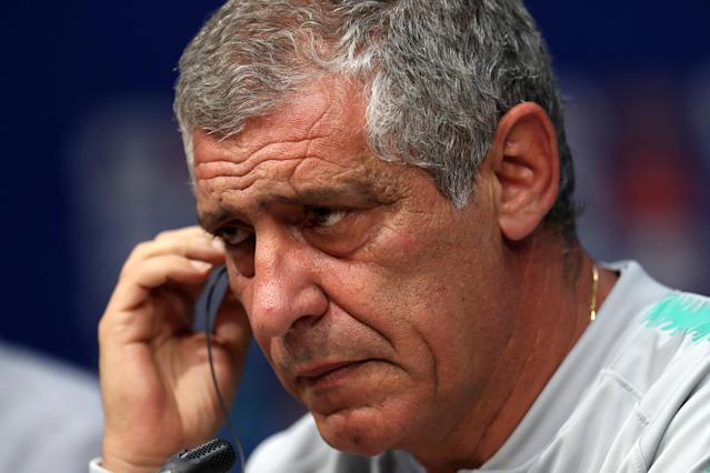 Soccer Football - World Cup - Portugal Press Conference - Mordovia Arena, Saransk, Russia - June 24, 2018 Portugal coach Fernando Santos during the press conference REUTERS/Ricardo Moraes