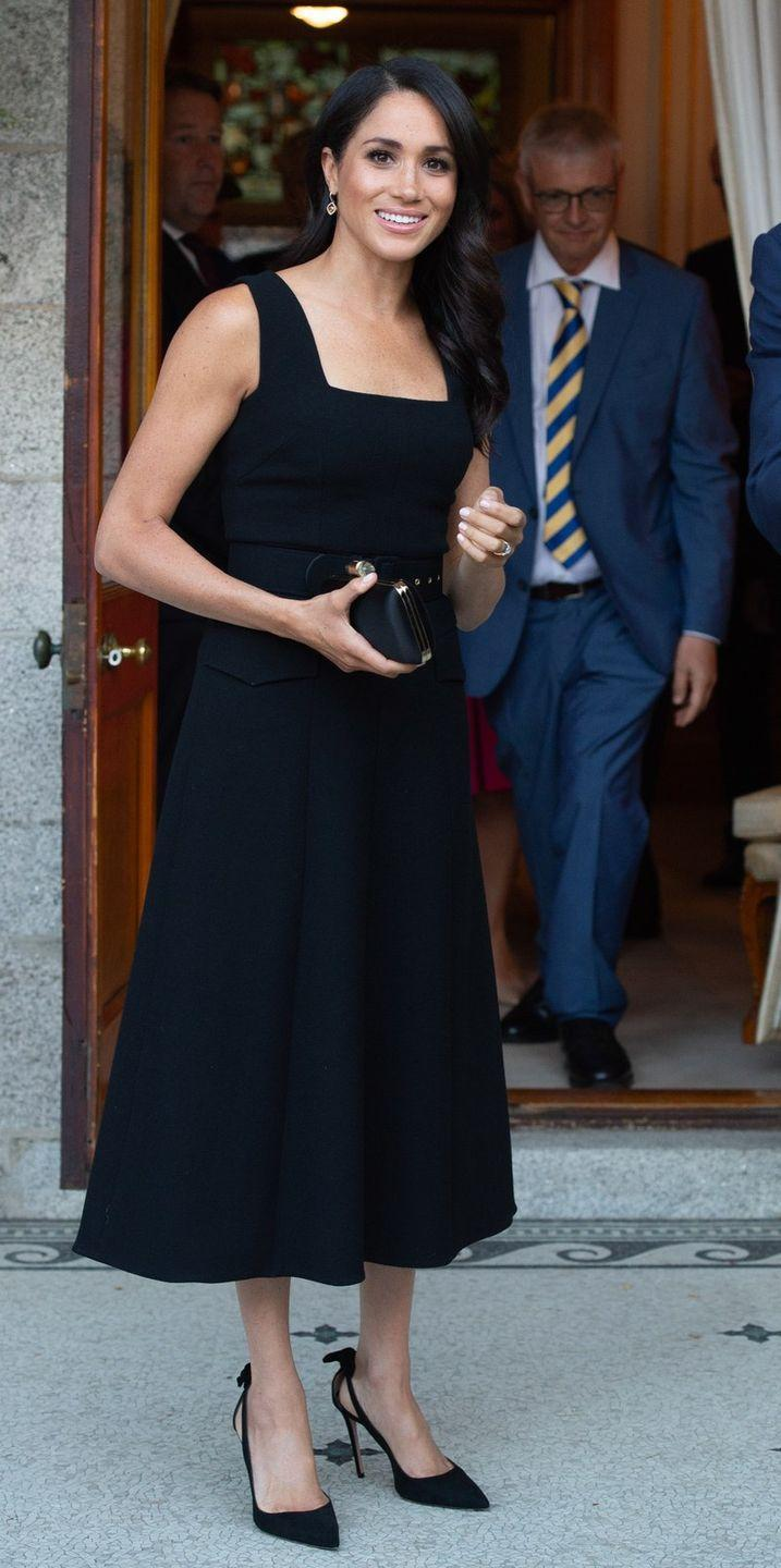 <p>The Queen allegedly prefers for royal family members not to wear all black unless they're in mourning, but Meghan has worn all-black outfits on multiple occasions. </p>