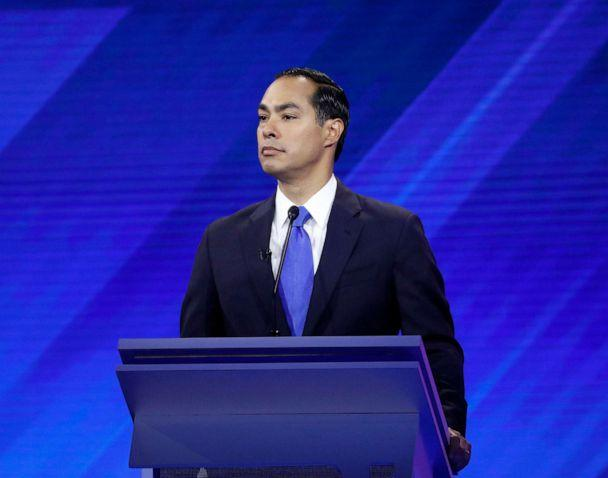 PHOTO: Julian Castro participates in a debate from Texas Southern University's Health & PE Center in Houston, Sept. 12, 2019. (Heidi Gutman/Walt Disney Television)