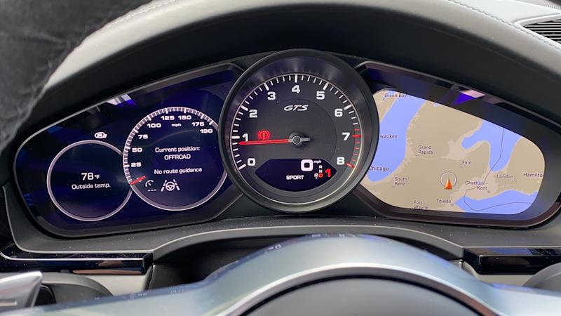 2021 Porsche Cayenne GTS's configurable instrument panel.
