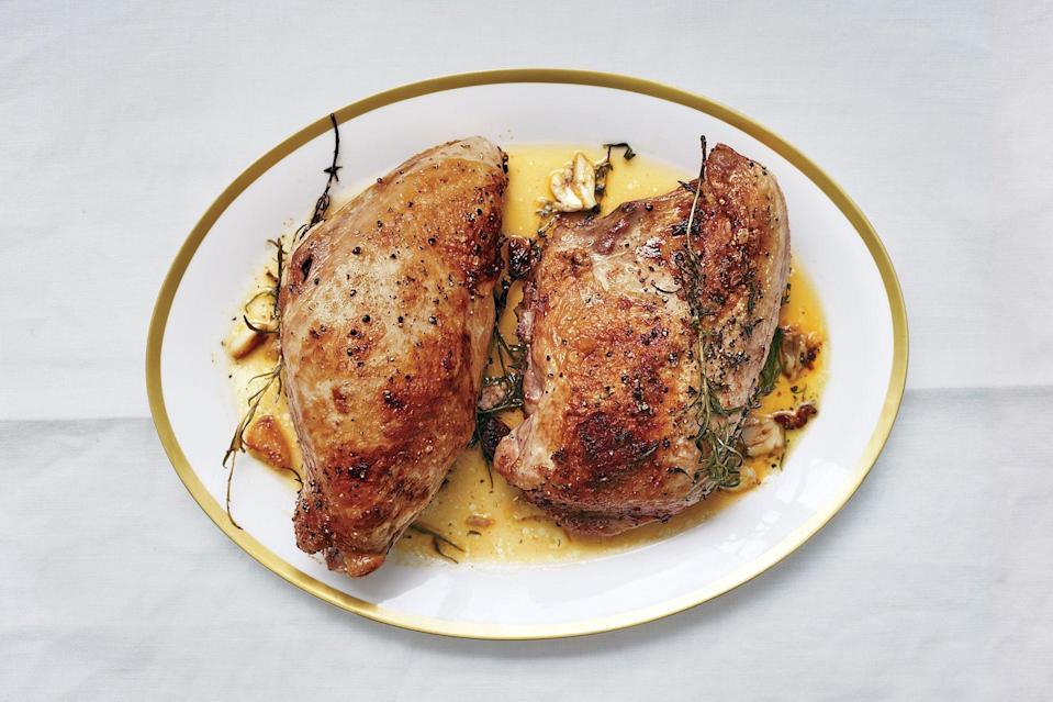 """Roasted in butter and herbs, these turkey breasts may be the best you've ever had. <a href=""""https://www.epicurious.com/recipes/food/views/butter-roasted-turkey-breasts-51198510?mbid=synd_yahoo_rss"""" rel=""""nofollow noopener"""" target=""""_blank"""" data-ylk=""""slk:See recipe."""" class=""""link rapid-noclick-resp"""">See recipe.</a>"""