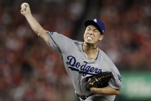 FILE - In this Oct. 6, 2019, file photo, then-Los Angeles Dodgers pitcher Kenta Maeda throws to a Washington Nationals batter during the eighth inning in Game 3 of a baseball National League Division Series in Washington. The Minnesota Twins welcome Kenta Maeda to their rotation, after a held-up trade was finally completed with the Los Angeles Dodgers. (AP Photo/Julio Cortez, File)