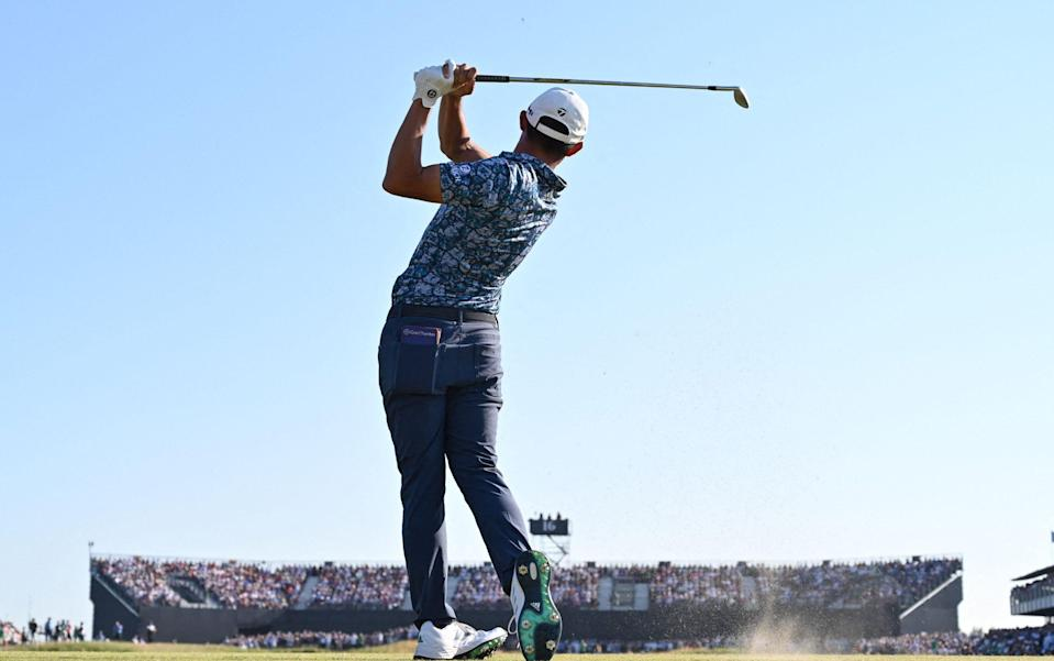 US golfer Collin Morikawa tees off on the 16th during his final round on day 4 of The 149th British Open Golf Championship at Royal St George's, Sandwich in south-east England on July 18, 2021 - Collin Morikawa is the antidote to Bryson DeChambeau - he will win majors the proper way - GETTY IMAGES