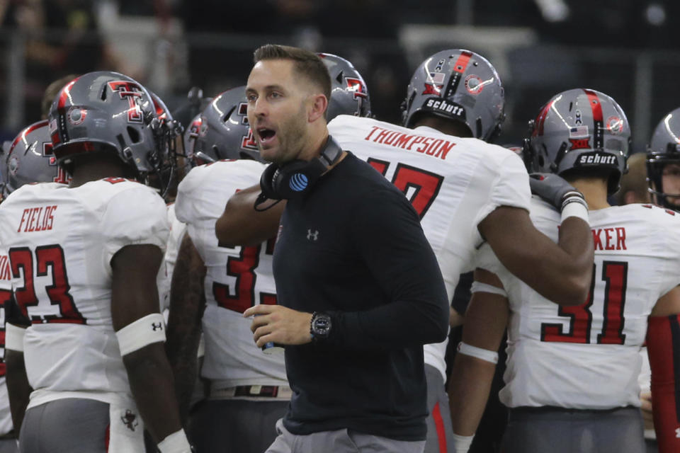 Texas Tech Head Football coach Kliff Kingsbury on the sidelines against Baylor in the first half of an NCAA college football game, Saturday, Nov. 11, 2017, in Arlington, Texas. (Jerry Larson/Waco Tribune Herald, via AP)