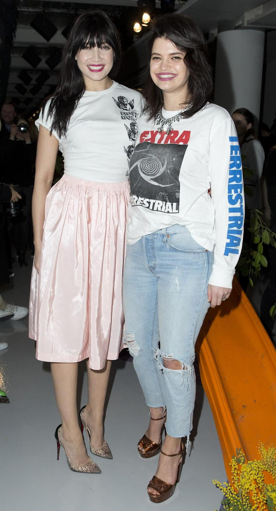 <p>Daisy Lowe and Pixie Geldof were all smiles in casual looks. <i>[Photo: PA]</i> </p>