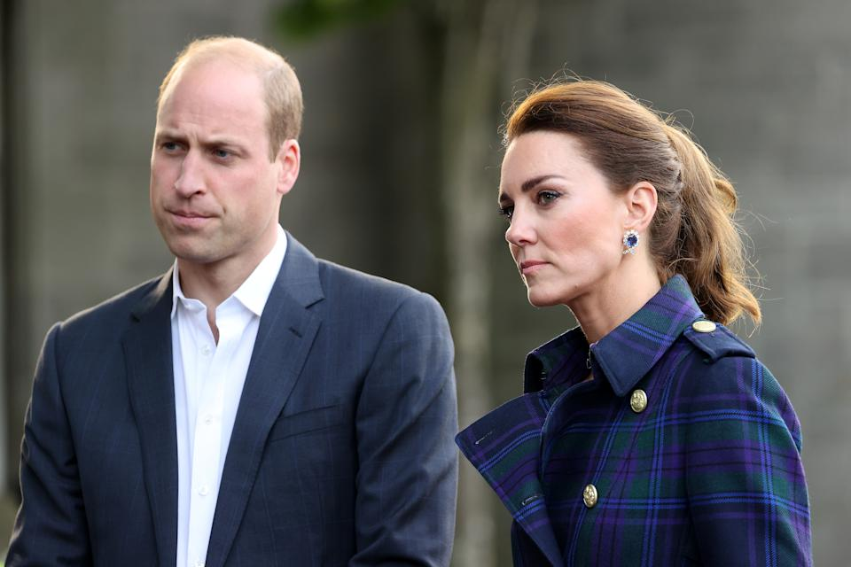 EDINBURGH, SCOTLAND - MAY 26: Prince William, Duke of Cambridge and Catherine, Duchess of Cambridge arrive to host NHS Charities Together and NHS staff at a unique drive-in cinema to watch a special screening of Disney's Cruella at the Palace of Holyroodhouse on day six of their week-long visit to Scotland on May 26, 2021 in Edinburgh, Scotland. (Photo by Chris Jackson - WPA Pool/Getty Images)
