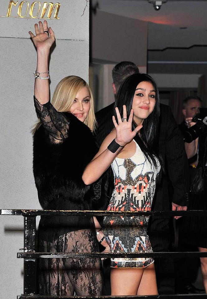 "Madonna and her 14-year-old daughter Lourdes Leon made a splash at Vanity Fair's post-Oscar bash Sunday night, and like most teenagers, Lola was embarrassed by her mom's outfit -- a black leotard covered by a lace overlay. The precious teen also confessed to ""Access Hollywood"" that she and Madge borrow from each others wardrobes. ""I go into her closet -- I'm not supposed to take things without asking, but she's always taking things without asking,"" revealed the budding fashionista. George Pimentel/<a href=""http://www.wireimage.com"" target=""new"">WireImage.com</a> - February 27, 2011"