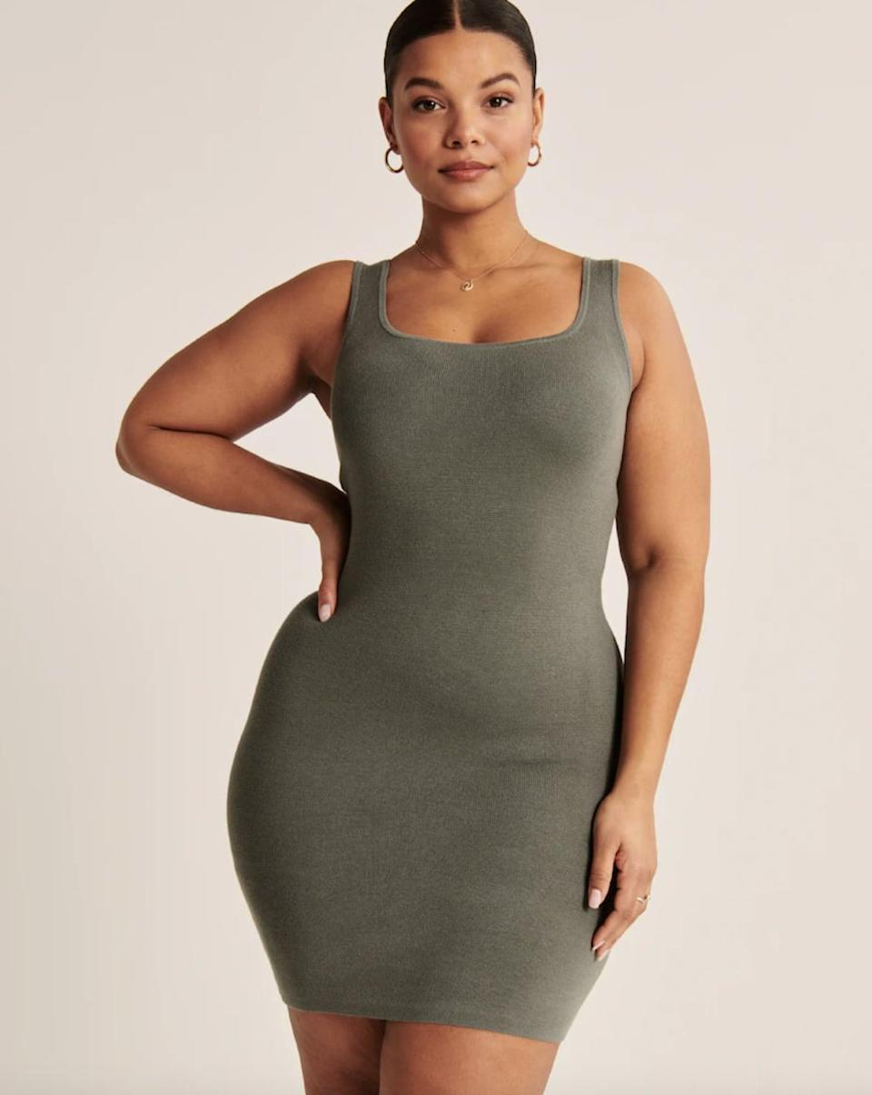 <p>This <span>Abercrombie 90s Ribbed Mini Sweater Dress</span> ($69) will hug you in all the right places and add a pep in your step.</p>