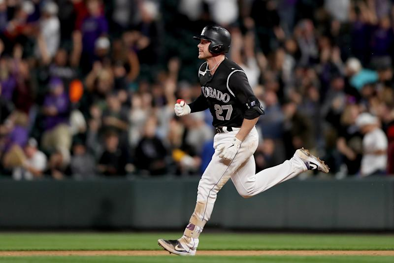 DENVER, COLORADO - SEPTEMBER 28: Trevor Story #27 of the Colorado Rockies circles the bases after hitting a walk off home in the tenth inning against the Milwaukee Brewers at Coors Field on September 28, 2019 in Denver, Colorado. (Photo by Matthew Stockman/Getty Images)