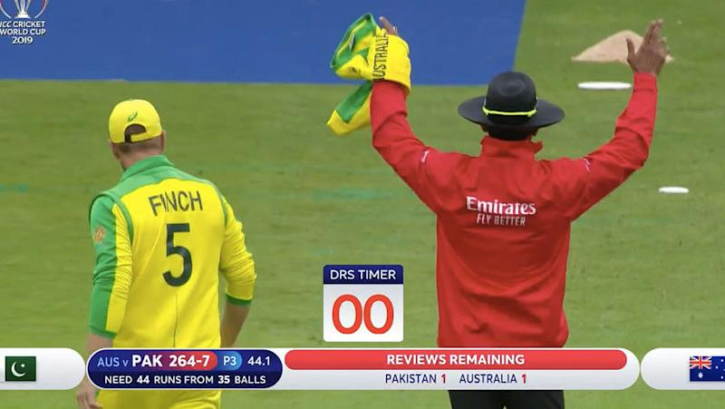 Aaron Finch left his to the last second. Pic: ICC