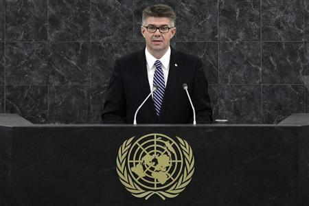 Iceland's Foreign Minister Sveinsson addresses the 68th session of the U.N. General Assembly in New York