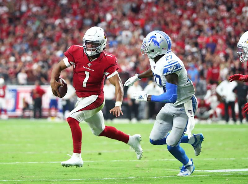 Cardinals quarterback Kyler Murray runs the ball against the Lions in overtime of the Lions' 27-27 tie on Sunday, Sept. 8, 2019, in Glendale, Arizona.