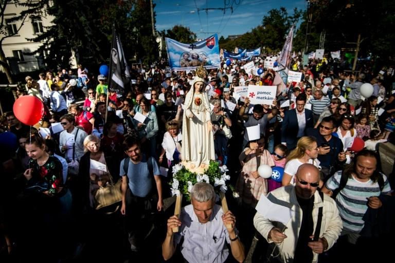 """The """"National March for Life"""" attracted 50,000 people, according to the Catholic Episcopal Conference of Slovakia which organised the event"""