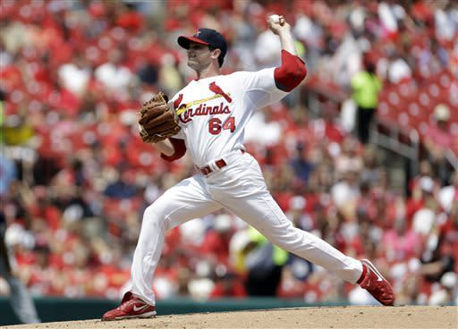 St. Louis Cardinals starting pitcher John Gast throws during the first inning of a baseball game against the Milwaukee Brewers, Sunday, May 19, 2013, in St. Louis. (AP Photo/Jeff Roberson)