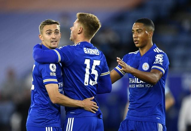 Timothy Castagne, left, and Youri Tielemans, right, have been selected alongside Leicester team-mate Dennis Praet, not pictured