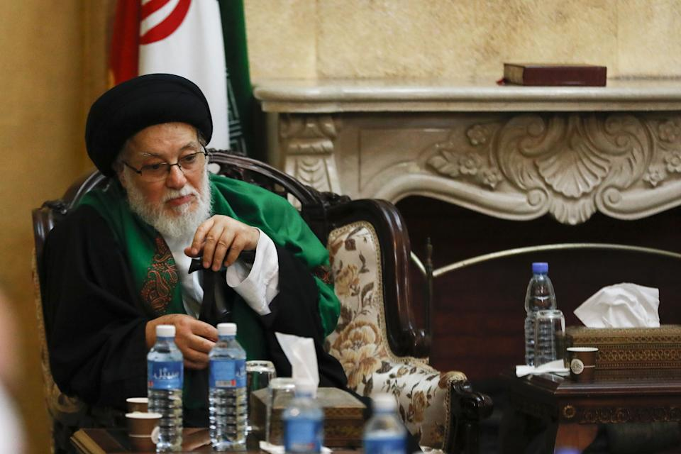 "Sayyed Issa Tabatabai, the representative of Iran's supreme leader Ayatollah Ali Khamenei, receives condolences at the Iranian embassy in the Lebanese capital Beirut on January 3, 2020, following the killing of Iranian Revolutionary Guards top commander Qasem Soleimani in a US strike on his convoy at Baghdad international airport. - The leader of Lebanon's Tehran-backed Hezbollah group called for the death in a US strike of top Iranian commander Major General Qasem Soleimani to be avenged. ""Meting out the appropriate punishment to these criminal assassins... will be the responsibility and task of all resistance fighters worldwide,"" Hassan Nasrallah said in a statement. (Photo by Anwar AMRO / AFP) (Photo by ANWAR AMRO/AFP via Getty Images)"