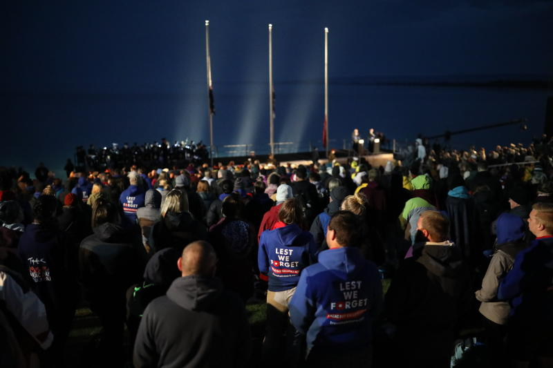 People attend he Dawn Service ceremony at the Anzac Cove beach, the site of World War I landing of the ANZACs (Australian and New Zealand Army Corps) on April 25, 1915, in Gallipoli peninsula, Turkey, early Thursday, April 25, 2019. As dawn broke, families of soldiers, leaders and visitors gathered near former battlefields, honouring thousands of Australians and New Zealanders who fought in the Gallipoli campaign of World War I on the ill-fated British-led invasion. The doomed Allied offensive to secure a naval route from the Mediterranean to Istanbul through the Dardanelles, and take the Ottomans out of the war, resulted in over 130,000 deaths on both sides.(AP Photo/Emrah Gurel)
